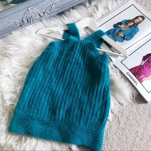 Kaisely Teal Mohair High Neck Sweater Knit Top✨